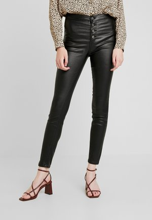 MID RISE BUTTON FRONT - Jegging - black