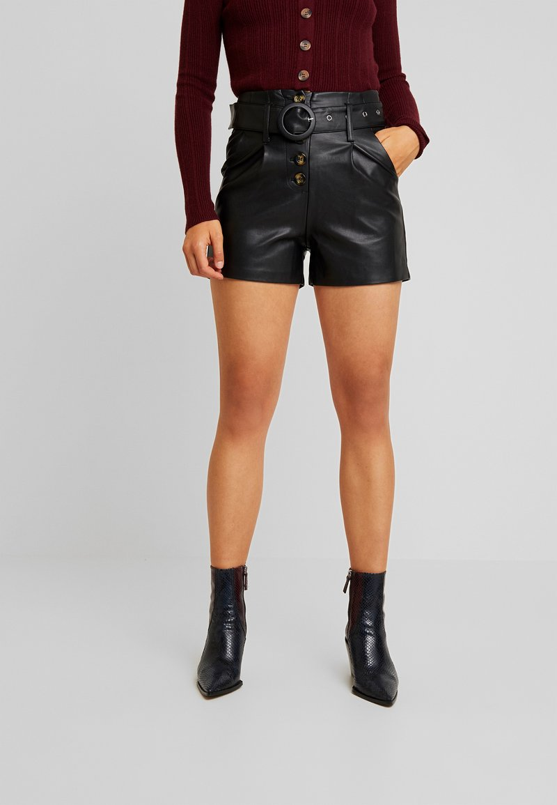 Lost Ink - BUTTON FRONT - Shorts - black
