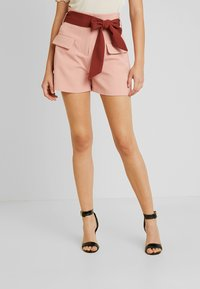 Lost Ink - HIGH WAIST CONTRAST TIE - Szorty - pink - 0