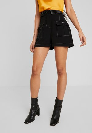 CONTRAST STITCH POCKET FRONT SHORTS - Shorts - black
