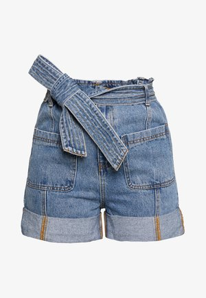 TURN UP PAPERBAG WAIST - Jeansshort - mid denim