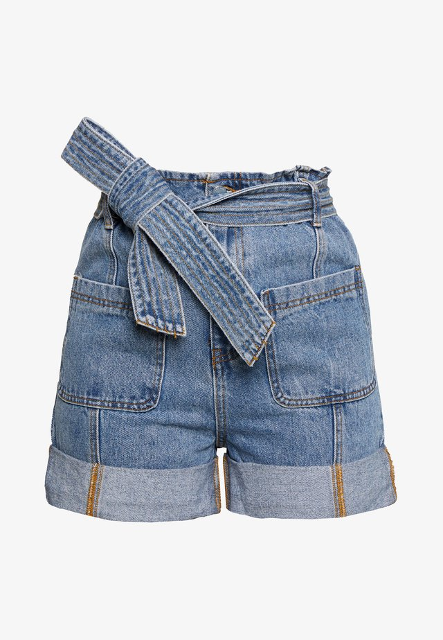 TURN UP PAPERBAG WAIST - Jeansshorts - mid denim