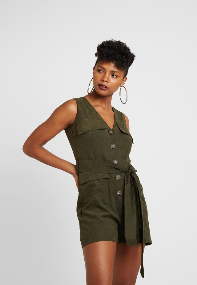 PLAYSUIT WITH POCKET AND TIE DETAIL - Kombinezon - khaki