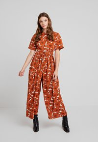 Lost Ink - WITH WIDE LEG IN FLORAL - Jumpsuit - multi orange - 1