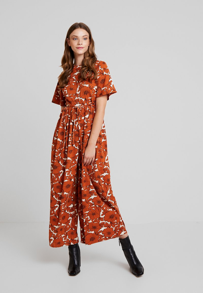 Lost Ink - WITH WIDE LEG IN FLORAL - Jumpsuit - multi orange