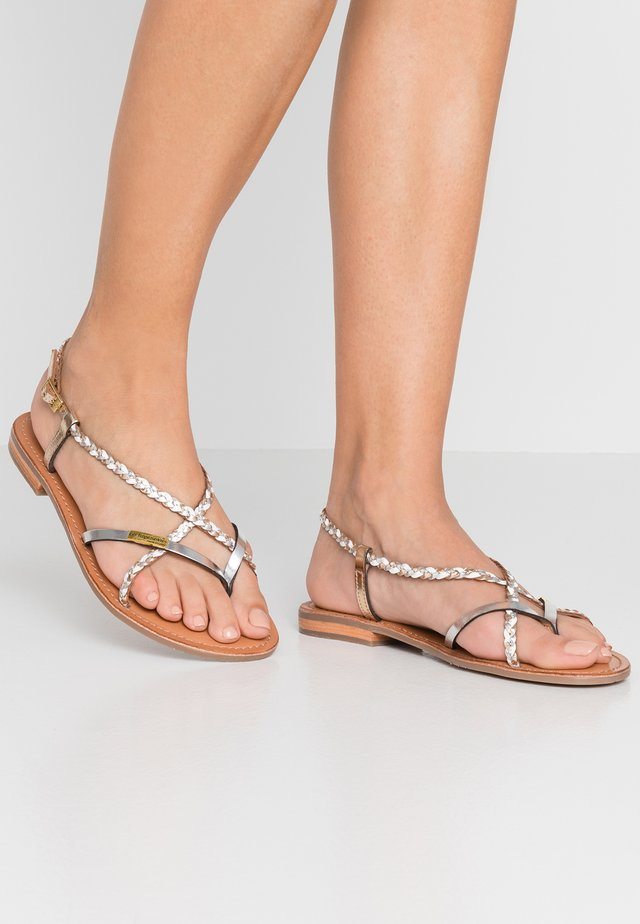 MONATRES - T-bar sandals - white/gold
