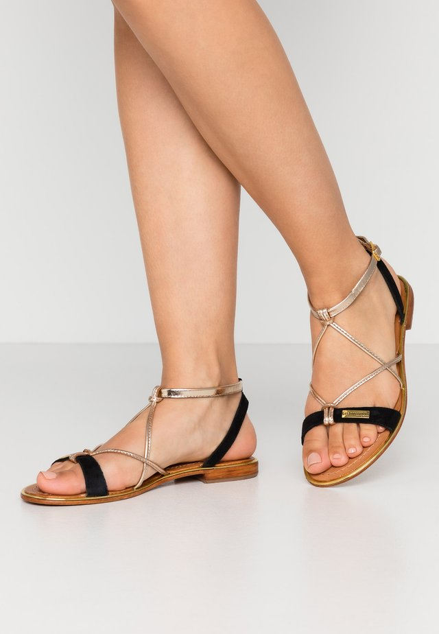 HIRONBUC - Sandals - noir/or
