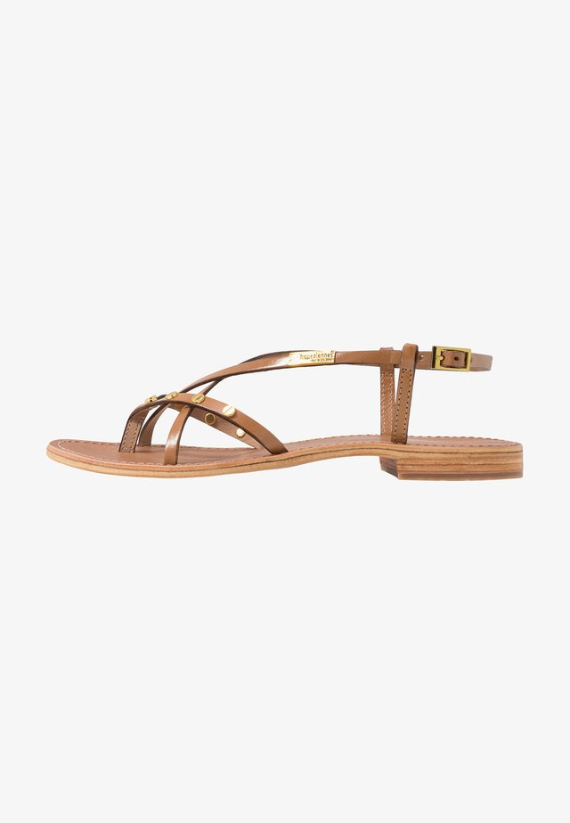 MONACLOU - T-bar sandals - miel
