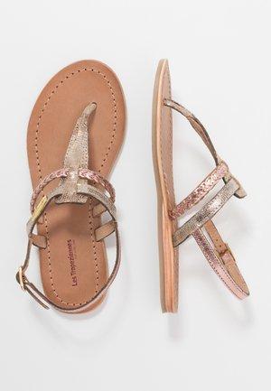 BARAKA - T-bar sandals - or/peche