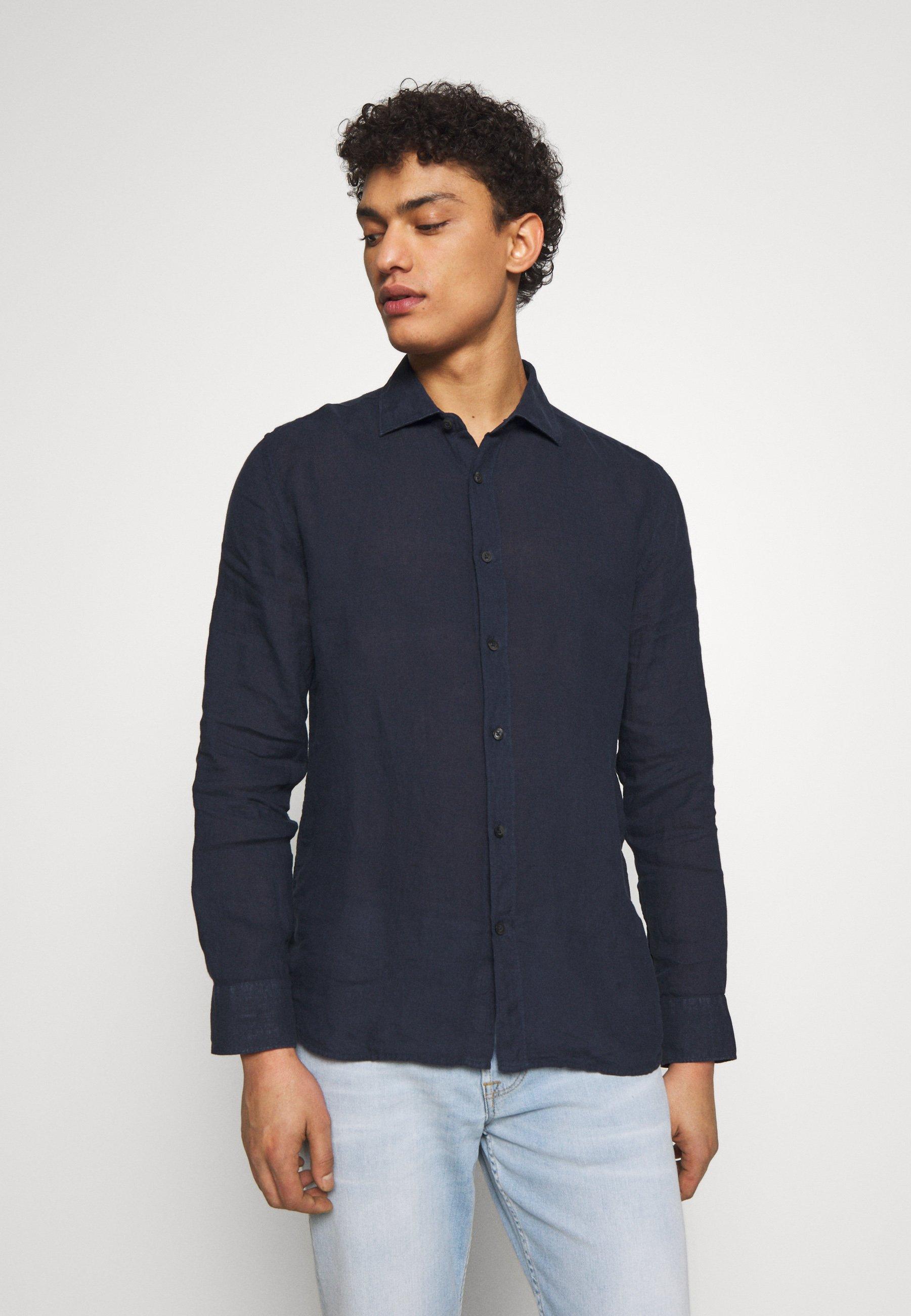 120% Lino Koszula - blue navy