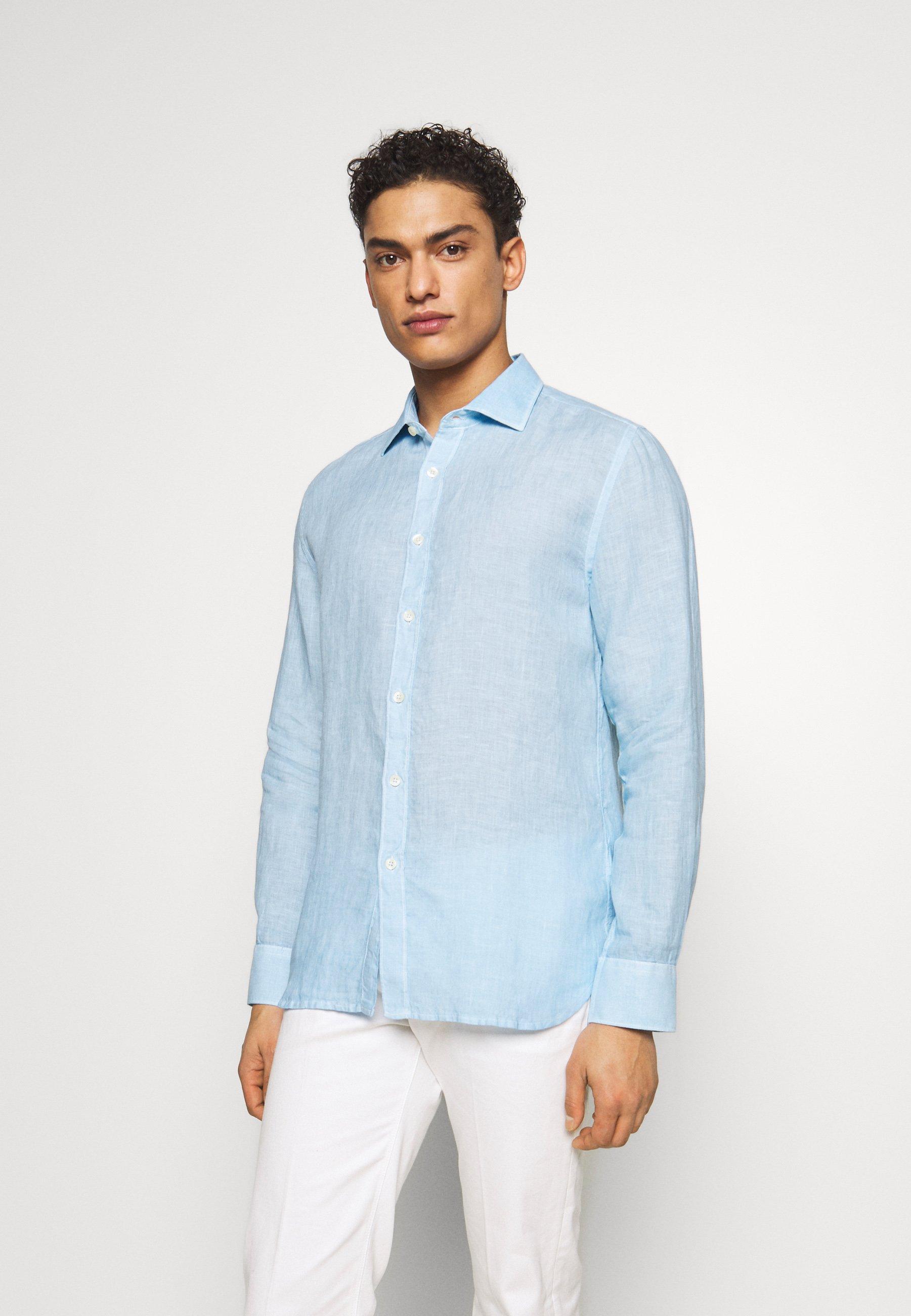 120% Lino Koszula - blue soft fade