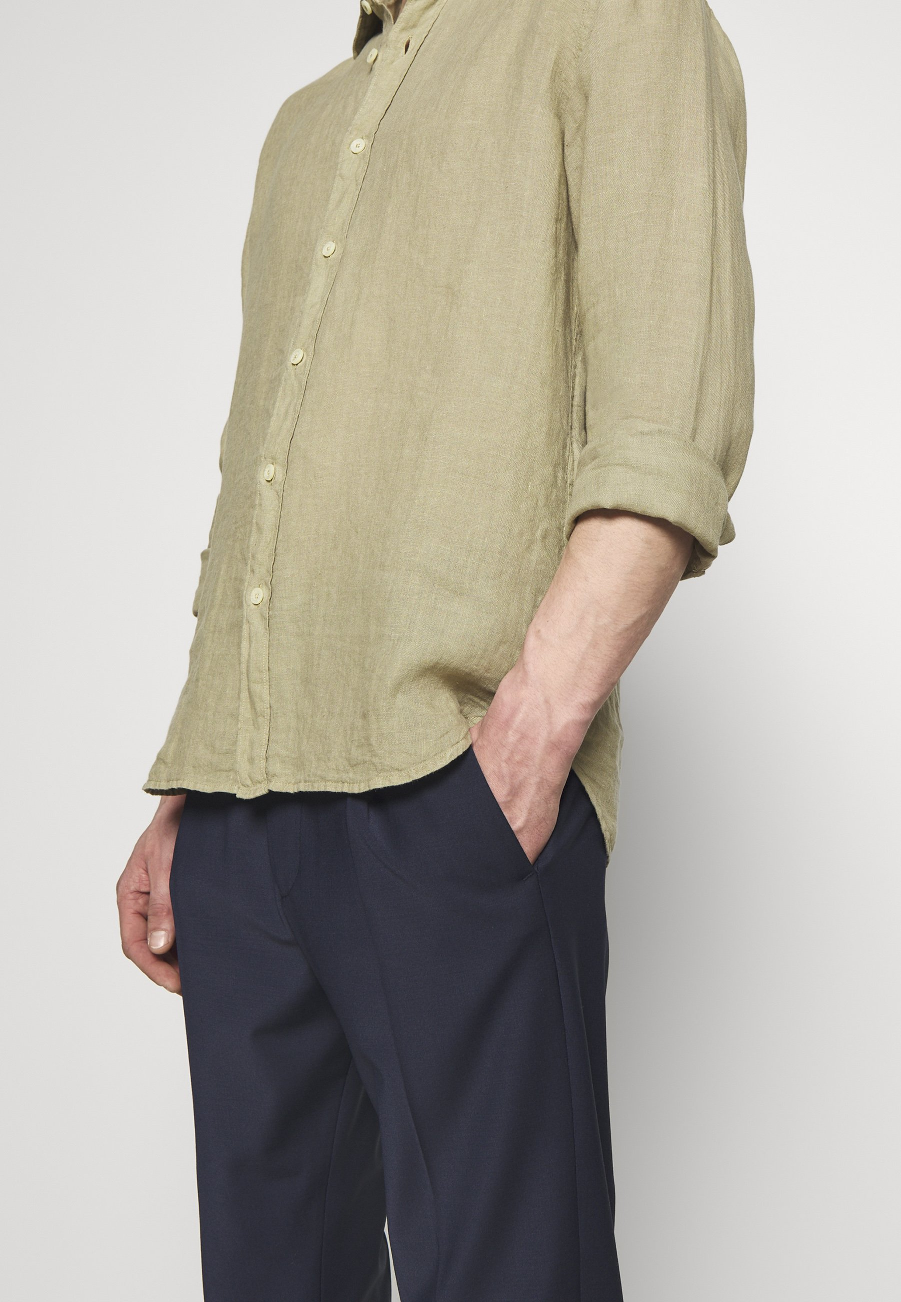 120% Lino Overhemd - Olive bmCiMm9