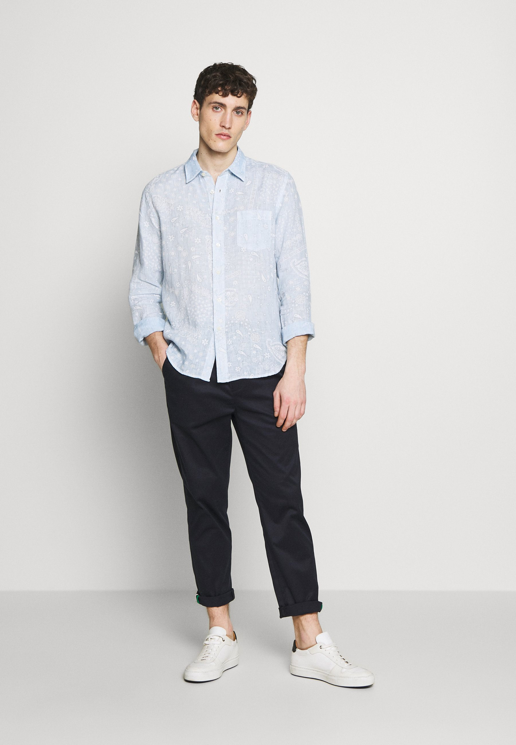 120% Lino Print Paisley - Skjorter Pacific Blue Soft Fade