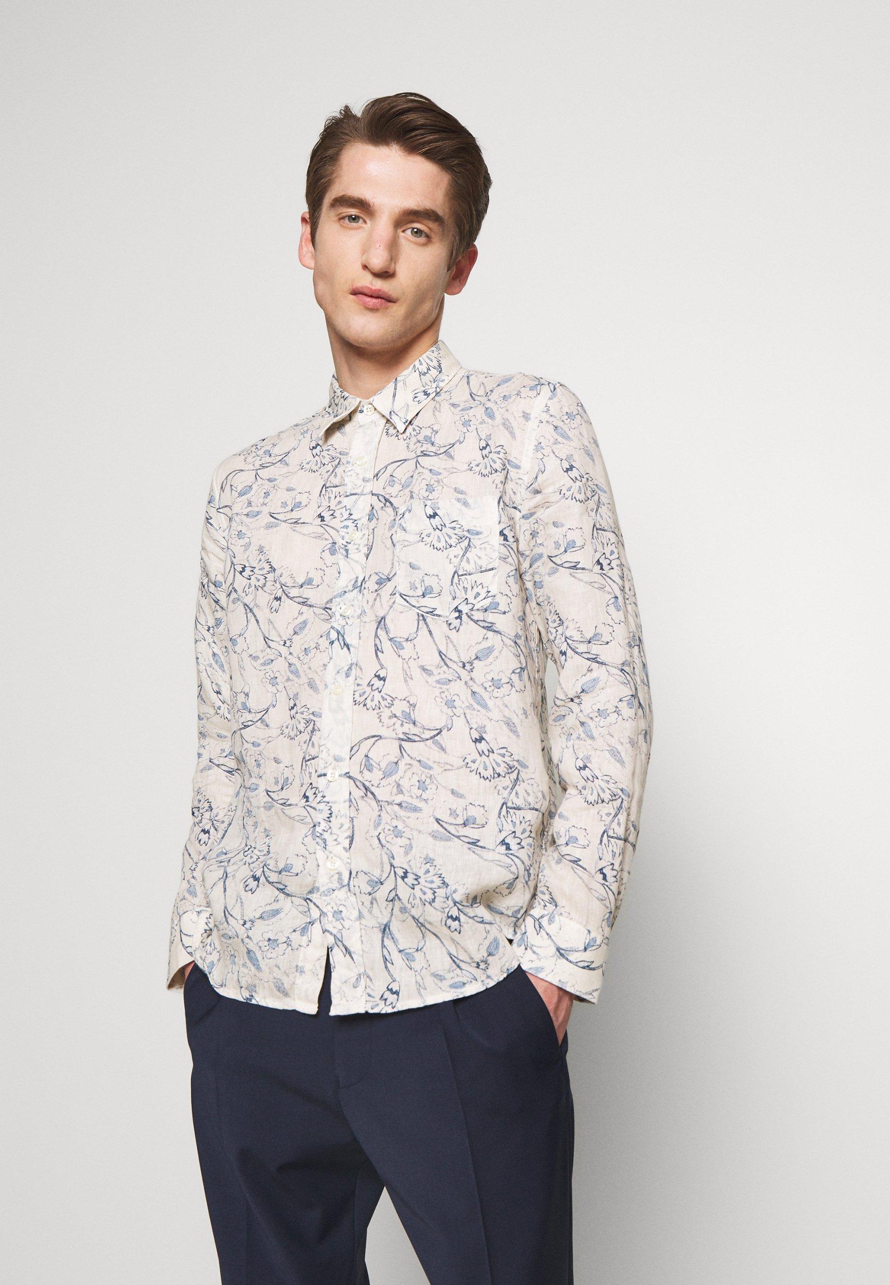 120% Lino FLORAL PRINT - Koszula - ivory soft fade