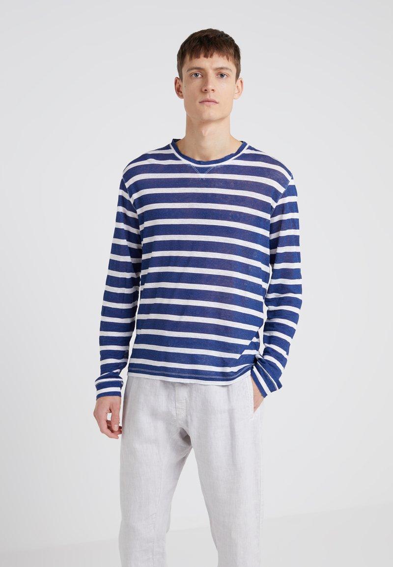 120% Lino - T-shirt à manches longues - white/blue