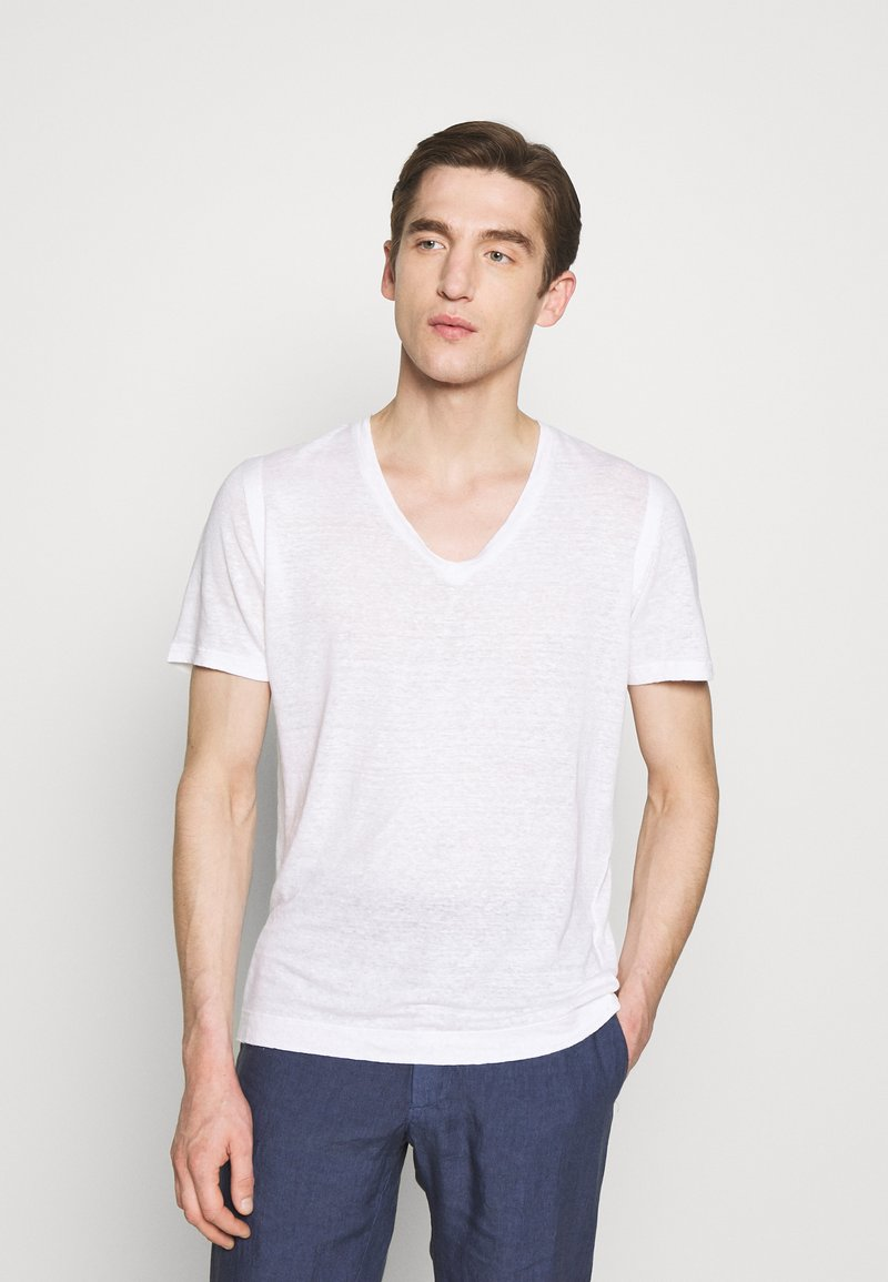 120% Lino - V NECK - Jednoduché triko - white solid