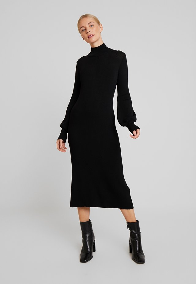 MARIELC TURTLE NECK DRESS - Maksimekko - pitch black