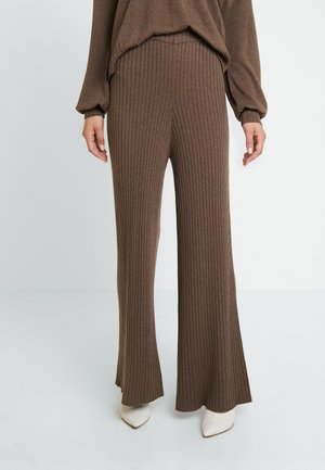 SUNNY PANTS - Tygbyxor - major brown melange