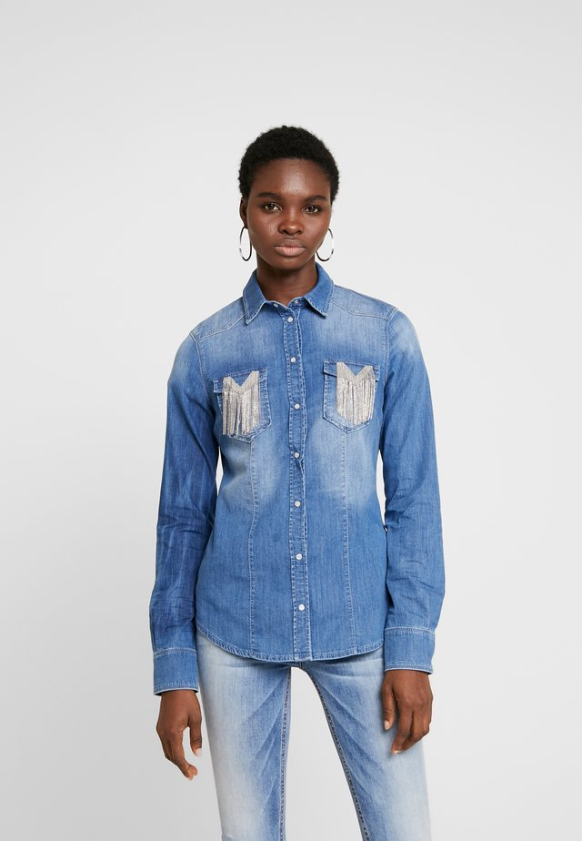 CAMICIA COVER - Button-down blouse - blue fringed