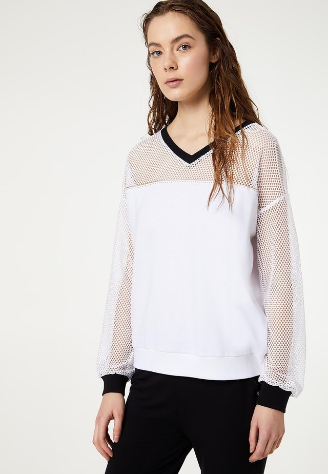 T WITH MESH INSERT - Blouse - white