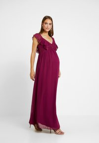 Little Mistress Maternity - NIKKI MULBERRY FRILL MAXI DRESS - Vestido de fiesta - mulberry - 1