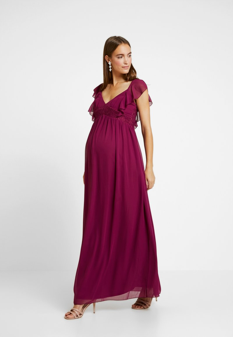 Little Mistress Maternity - NIKKI MULBERRY FRILL MAXI DRESS - Vestido de fiesta - mulberry
