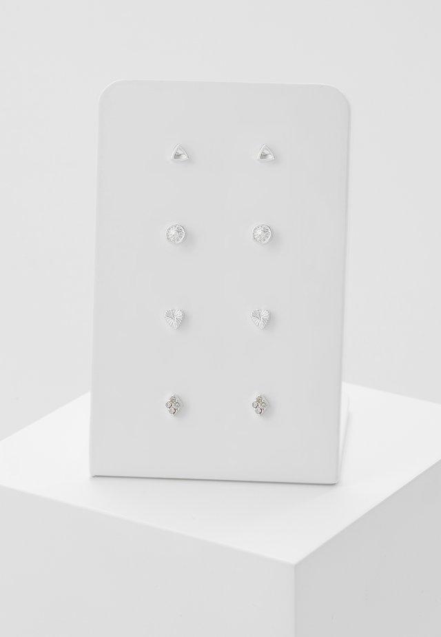 4 PACK - Earrings - silver-coloured