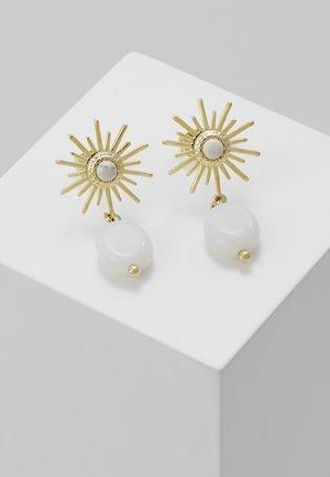 Earrings - gold/white