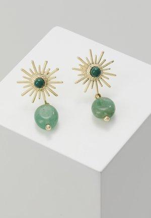 Earrings - gold/green