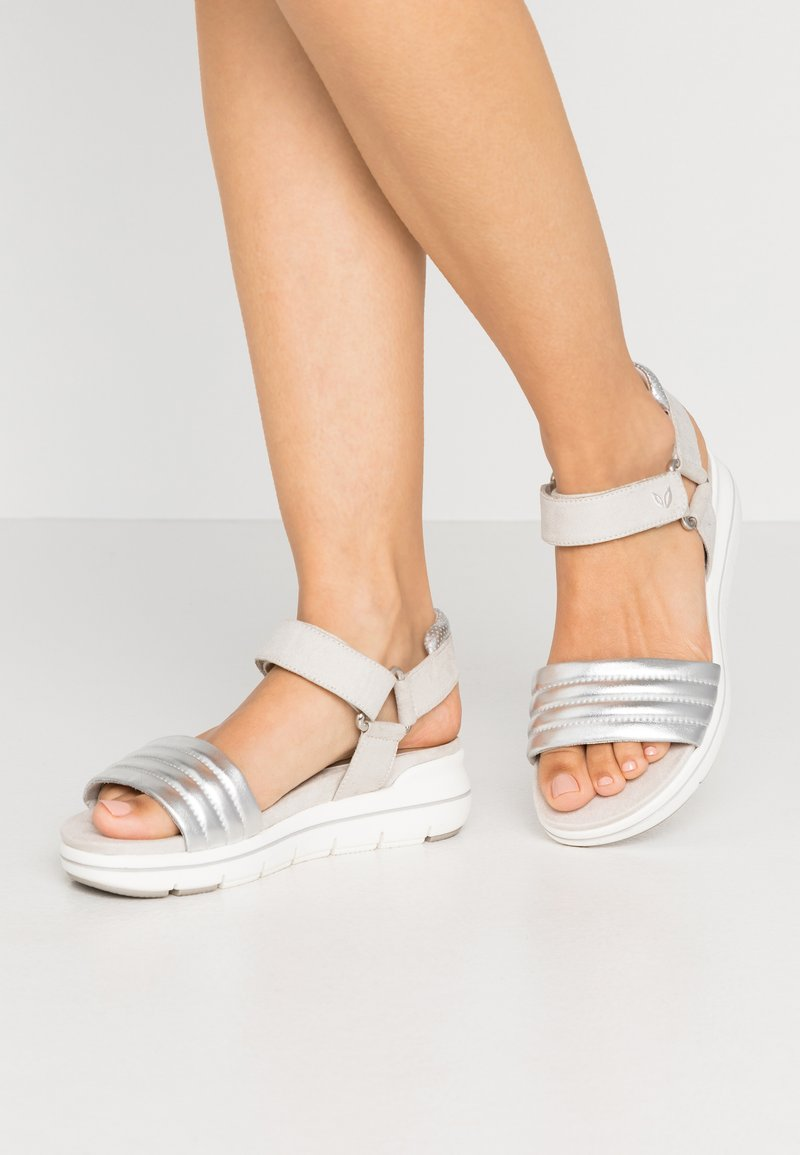 LOVE OUR PLANET by MARCO TOZZI - Platform sandals - light grey