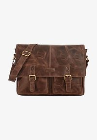 Leabags - CAMBRIDGE - Across body bag - mottled dark brown - 0
