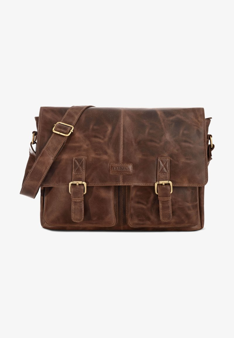 Leabags - CAMBRIDGE - Across body bag - mottled dark brown