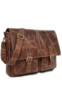 Leabags - CAMBRIDGE - Across body bag - mottled dark brown - 2