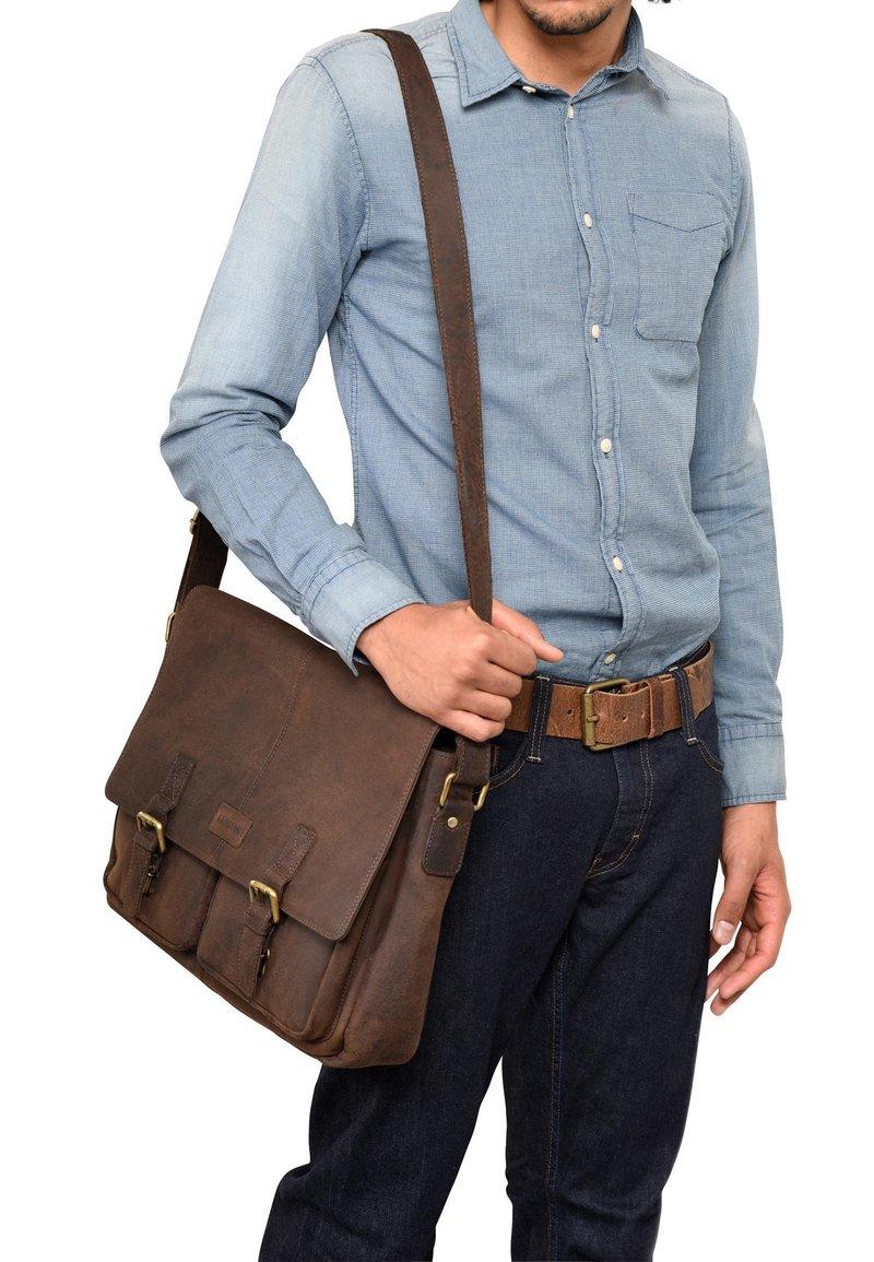 Leabags - CAMBRIDGE - Across body bag - mottled brown