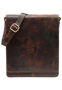 Leabags - LONDON - Across body bag - dark brown/light brown - 0