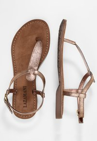 Lazamani - T-bar sandals - copper - 3