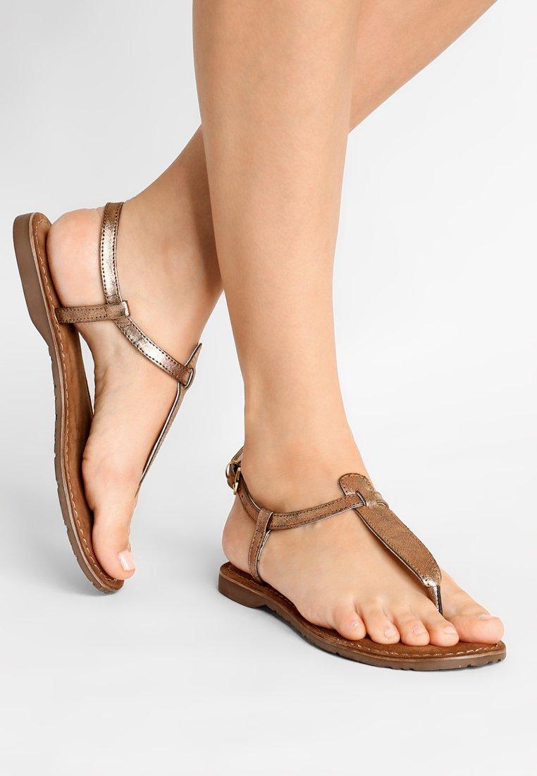 Lazamani - T-bar sandals - copper