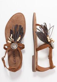 Lazamani - T-bar sandals - cognac - 3