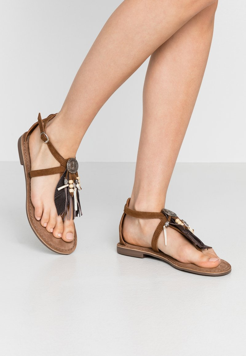 Lazamani - T-bar sandals - cognac