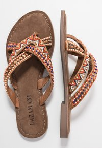 Lazamani - T-bar sandals - tan - 3