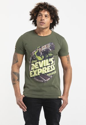 LIMITED TO 360 PIECES -ZENDER - DEVILS EXPRESS - Print T-shirt - military green