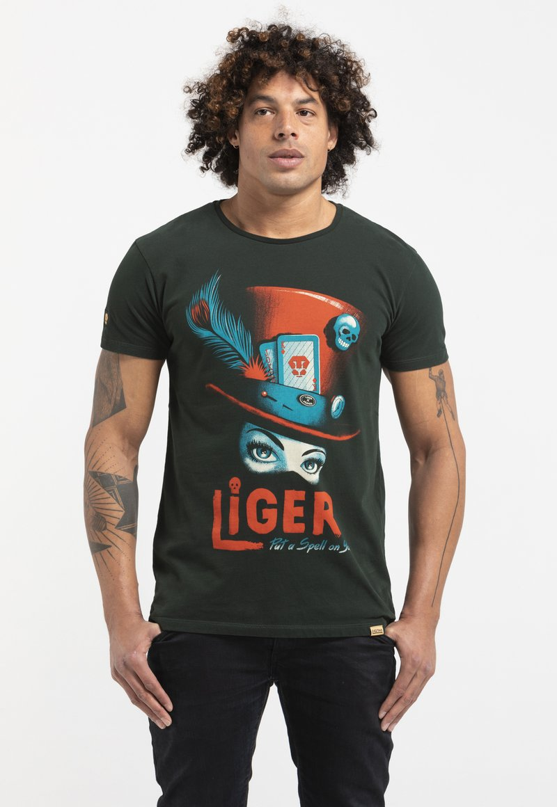 Liger - LIMITED TO 360 PIECES - MR. FEAVER - FREE WORK - Print T-shirt - bottle green
