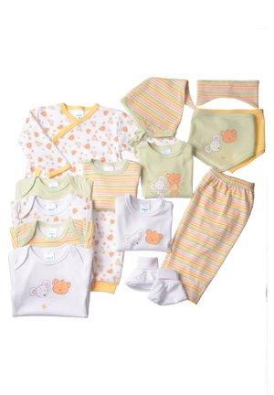14SET - Baby gifts - gestreift,weiss mit motivdruck,hellgrün,gelb