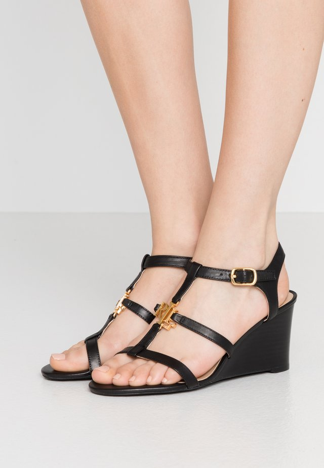 CHARLTON CASUAL WEDGE - Wedge sandals - black