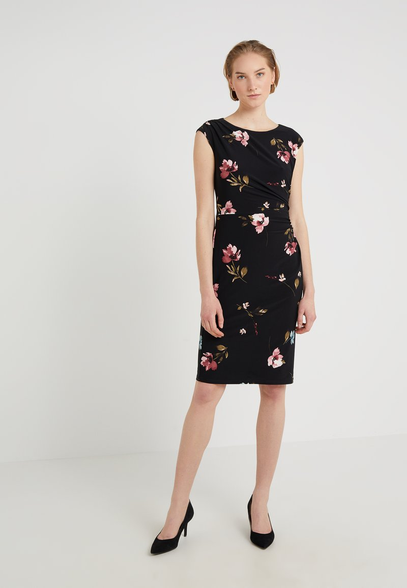 Lauren Ralph Lauren - RONI CAP SLEEVE DAY DRESS - Shift dress - black/pink/multi