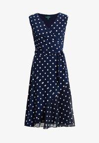Lauren Ralph Lauren - JORI CAP SLEEVE DAY DRESS - Jersey dress - lighthouse navy/colonial cream - 4