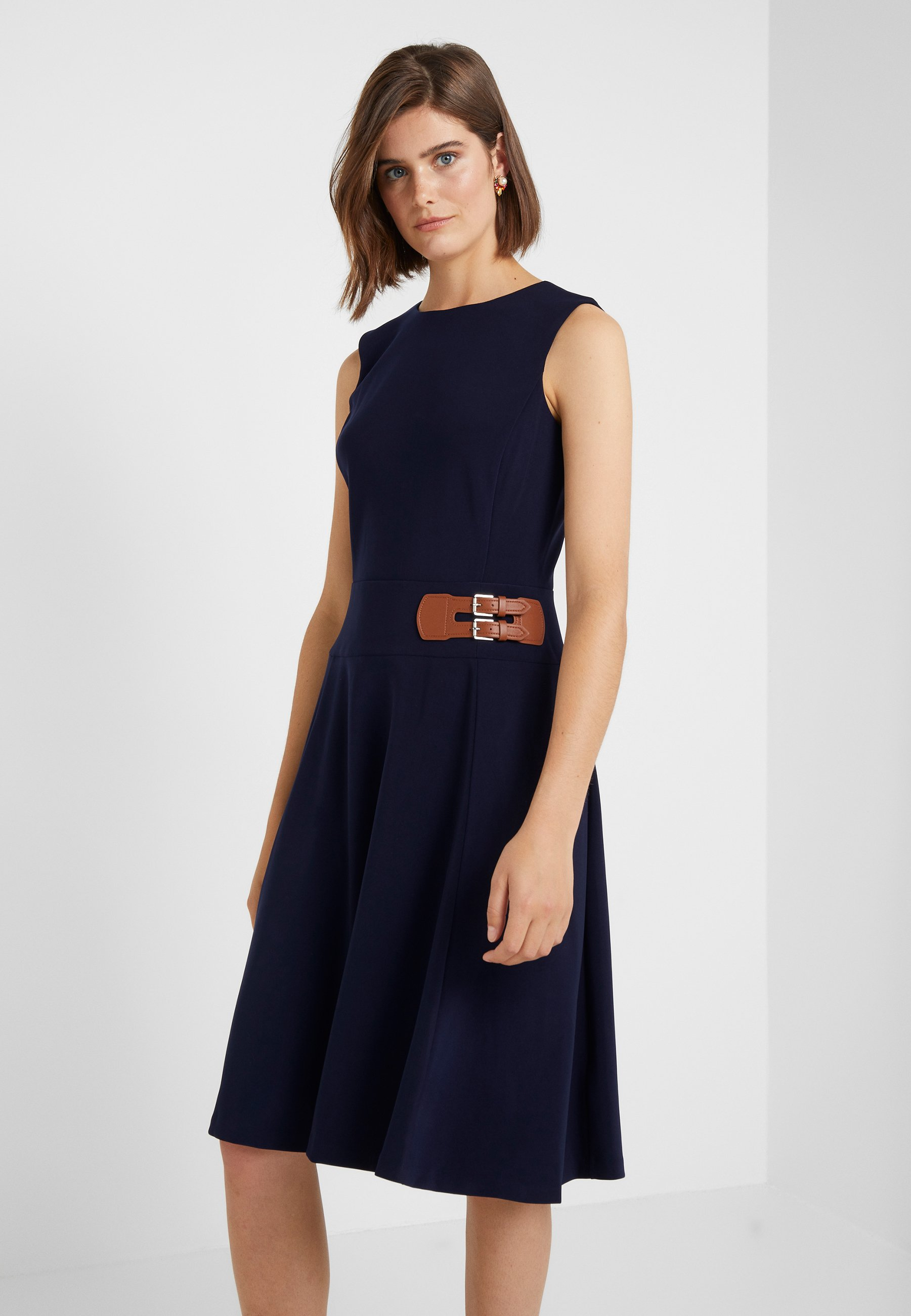 En Jersey Lighthouse Bonded Navy Lauren Ralph TrimRobe Dress YWEDH2I9