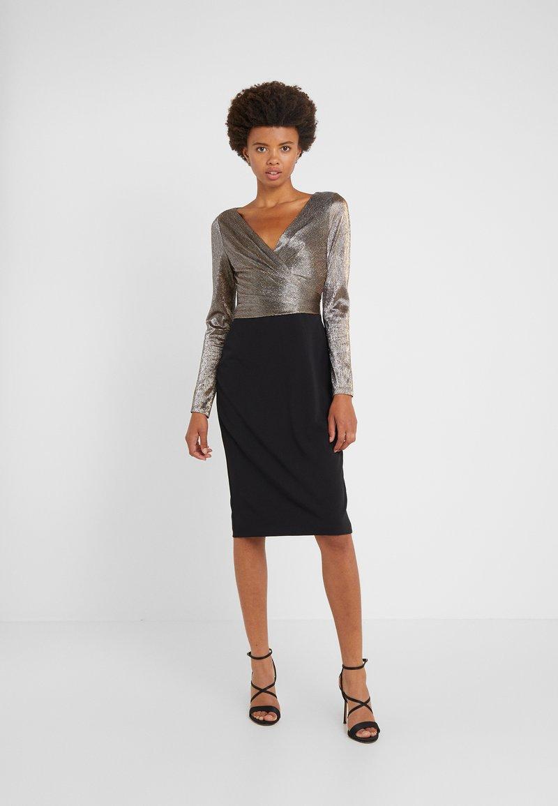 Lauren Ralph Lauren - LUXE TECH CREPE DRESS - Cocktail dress / Party dress - black/gold