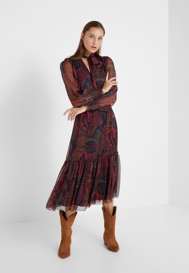 Lauren Ralph Lauren - CRINKLE DRESS - Freizeitkleid - navy/multi