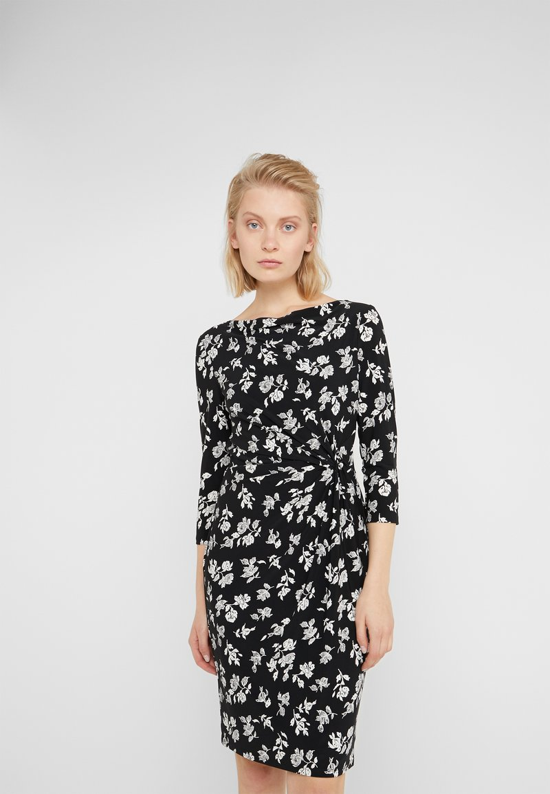 Lauren Ralph Lauren - PRINTED MATTE DRESS - Shift dress - black/offwhite
